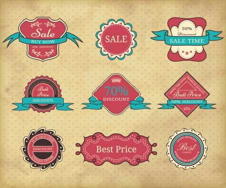 Set of vintage frames on grunge polka dot background  Vector