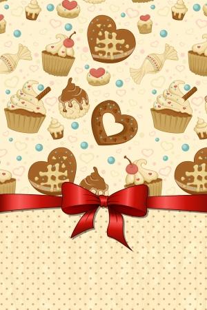 cupcake illustration: Cute template for sweet menu  Illustration