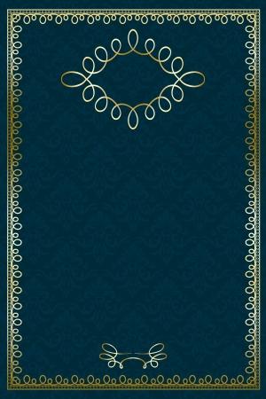 label frame: Vintage Certificate on damask background with golden frame
