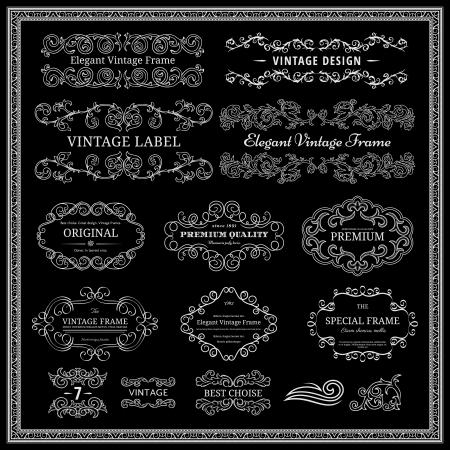scroll border: Set of vintage design elements.