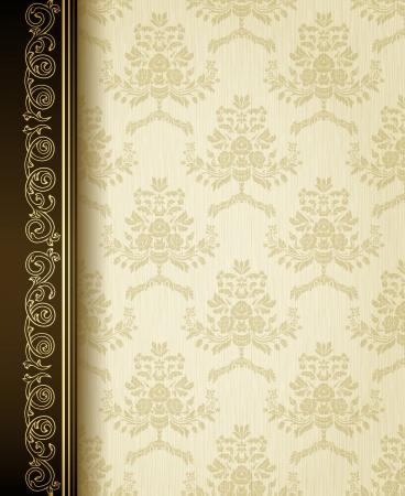 Stylish vintage background with golden ornament and damask pattern  Illustration