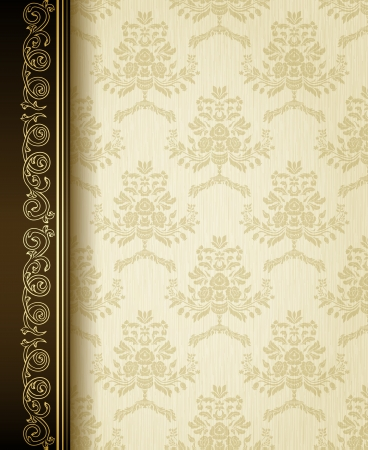 Stylish vintage background with golden ornament and damask pattern  Ilustrace