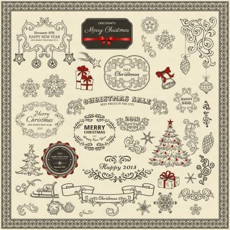 happy new year stamp: Conjunto de elementos de dise�o de la Navidad