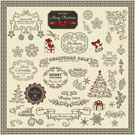 victorian scroll: Set of Christmas design elements