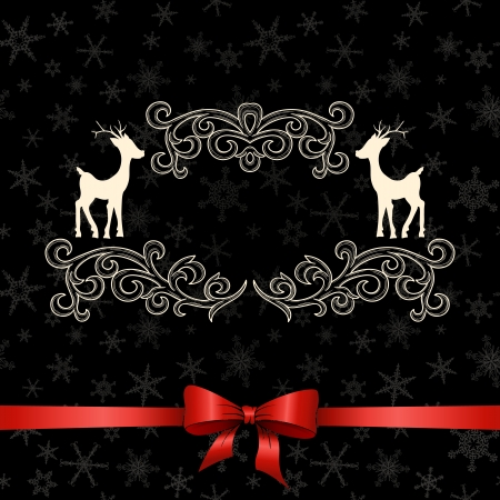 Vintage Christmas greeting card with deers  Vector