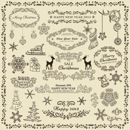 Set van Kerstmis design elementen