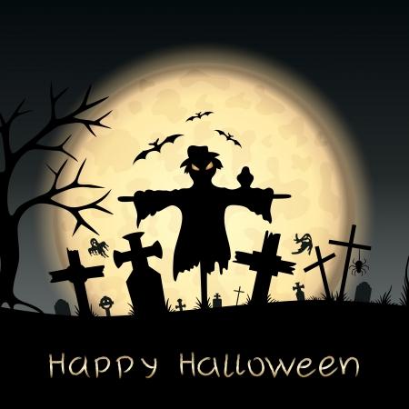 espantapajaros: Halloween de miedo tarjeta postal Vectores