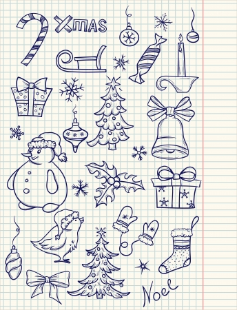 Set of doodle Christmas elements Stock Vector - 15704760