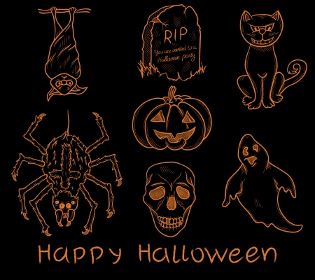 Set of halloween design elements  Vector