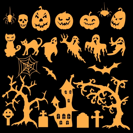 halloween spider: Collection of orange silhouettes on black background Illustration
