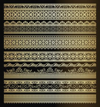 黄金のシームレスなラインや境界線のセット  イラスト・ベクター素材