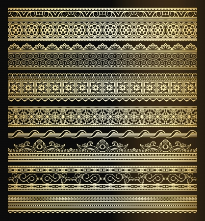 golden border: Set of golden seamless lines and borders