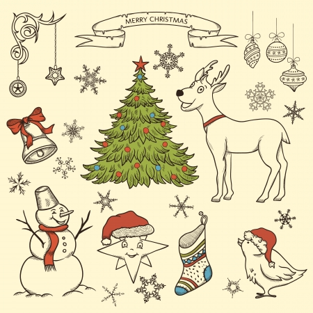 Conjunto de elementos de diseño de la Navidad Foto de archivo - 15704777