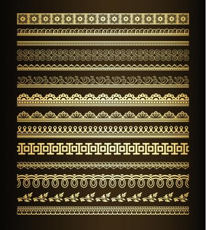 bordure de page: Ensemble de lignes d'or sans soudure et des fronti�res