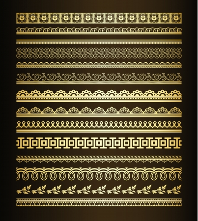 rectangular: Set of golden seamless lines and borders