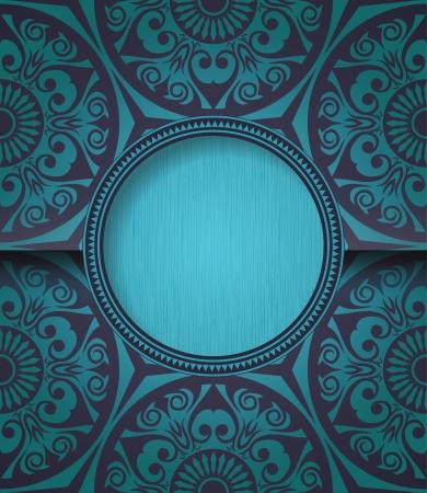 Stylish vintage round frame on blue seamless pattern