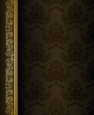 gold brown: Vintage background with damask pattern