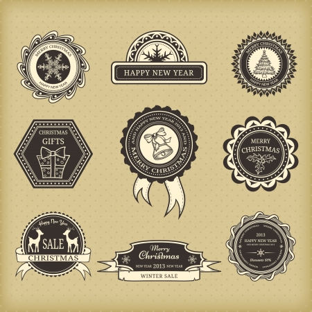 Christmas labels in retro style Stock Vector - 15931183