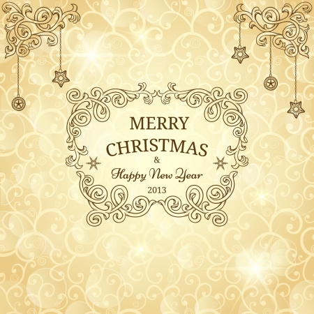 christmas greeting: Christmas greeting card with golden background Illustration