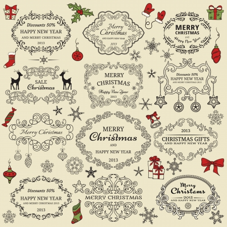 calligraphic design: Set of Christmas design elements