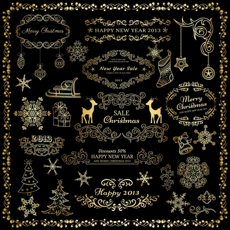 christmas scroll: Set og goldent design elements on dark background