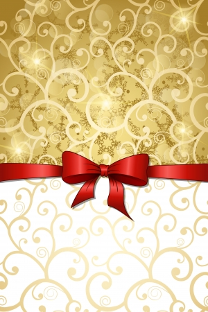 Christmas vintage background with red ribbon Vector