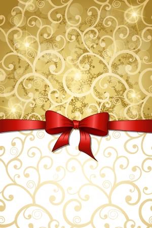 fiocco oro: Natale sfondo vintage con nastro rosso Vettoriali