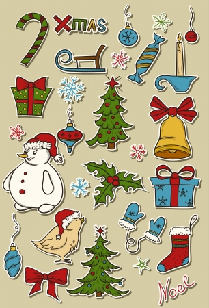 Set of christmas design elements Stock Vector - 15931160