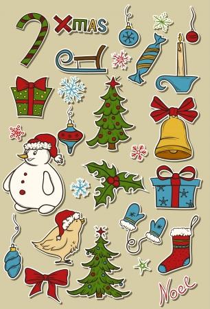 Set of christmas design elements Stock Vector - 15931160