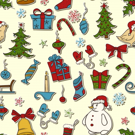 Seamless pattern with christmas elements  bell, snowflakes, socks, candle, giftbox and etc Çizim