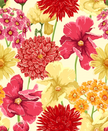 Floral seamless wallpaper in watercolor style Illustration