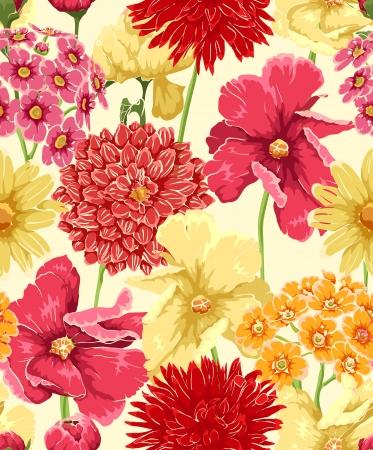 dibujos de flores: Papel pintado inconsútil floral en estilo acuarela