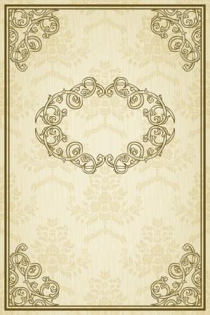vintage retro frame: Vintage background with damask pattern