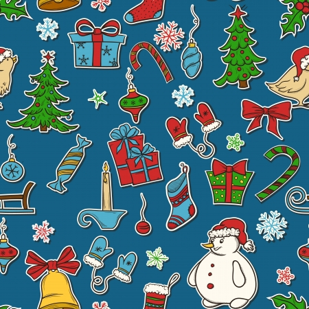 Christmas seamless pattern with candy, snowman, snowflakes, birds end etc Stock Vector - 16406821