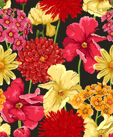 Floral seamless wallpaper in watercolor style  Vector