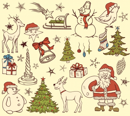 Set of christmas elements in retro style on beige background  Vector