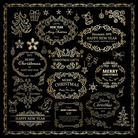 ornamental scroll: Set of golden design elements in retro style  Illustration