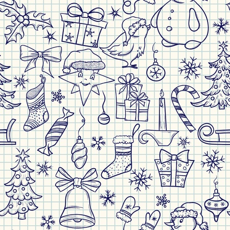 Christmas doodle seamless pattern on the school paper  Vector