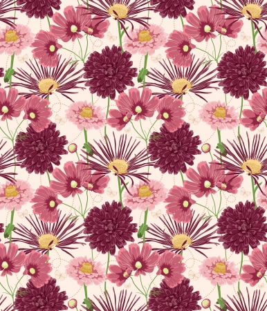flowers close up: Floral seamless pattern stylized like watercolor art
