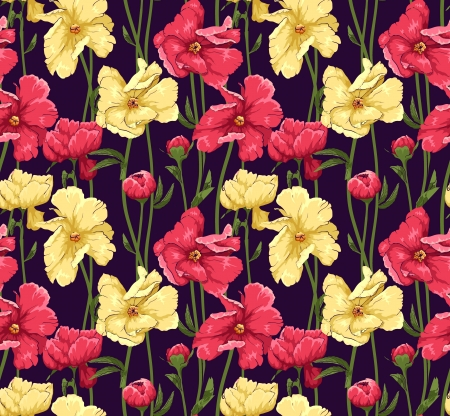textile image: Floral seamless pattern stylized like watercolor art