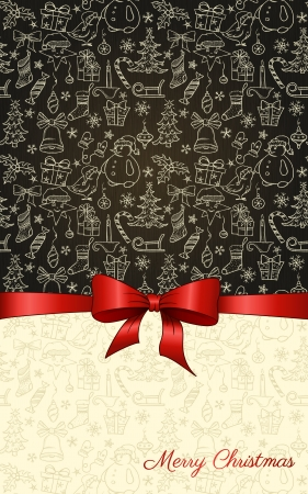 postcard: Vintage Christmas background with hand drawn seamless pattern and red ribbon  Illustration