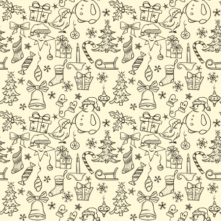 Christmas seamless pattern with big set of christmas objects Stock Vector - 16697607