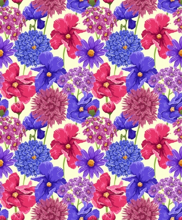 textile image: Colorful floral seamless pattern on light background