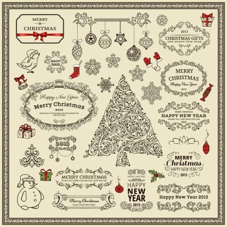 Set of Christmas design elements  Vector