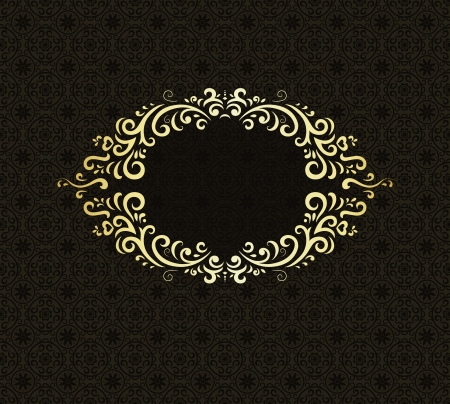 golden texture: Stylish vintage background with golden ornament and damask pattern  Illustration