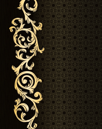 Stylish vintage background with golden ornament and damask pattern  Vettoriali