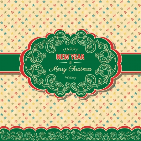 Christmas ans new year background in retro style  Vector