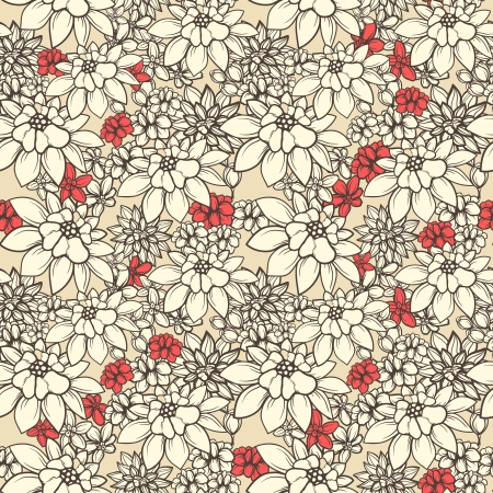 abstract flowers: Floral seamless wallpaper on beige background