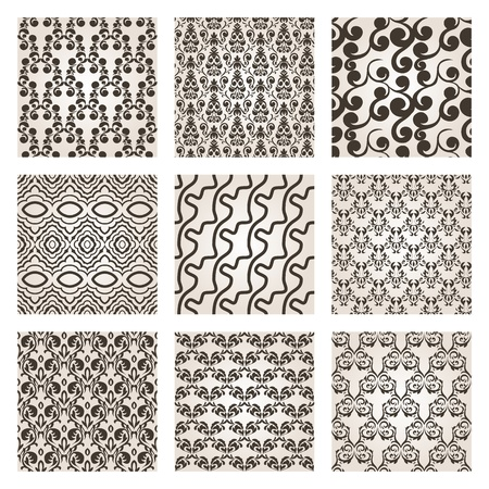 Set of nine seamless wallpaper  Vector