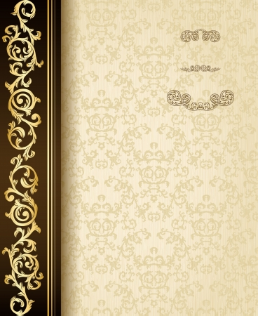 Stylish vintage background with golden ornament and damask pattern  Vector